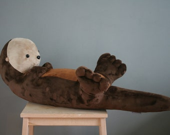 Big otter plush, giant cute otter plushie, 31 inch, very soft, made to order