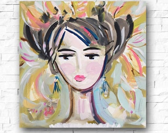 Woman print portrait impressionist square modern abstract girl art paper or canvas