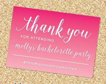 Ombre Bachelorette Party Thank You Card DIGITAL