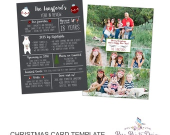 Year In Review Christmas Card Template - 5x7 Photo Card - Photoshop Template - INSTANT DOWNLOAD or Printable - YIR01