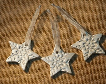 Silver Christmas star ornaments - Set of 3 silver stars - Clay star decorations - Handmade Christmas ornament - Christmas gift tags
