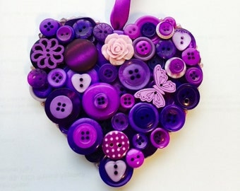 Button hanging heart, purple wedding accessory, Bride, Bridesmaid gift or birthday gift, UK seller