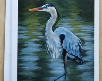 Blue Heron - Heron notecard - bird - Greeting card - Crane - blank card