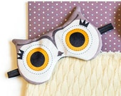 Sleeping eye mask owl charcoal and orange | Sleeping mask, sleep mask, traveling, naps, big eyes