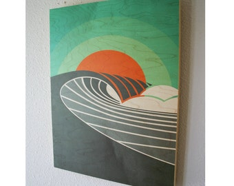 POINT BREAK (Sunset) | Surf Art | Wood wall prints