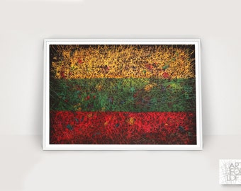 Lithuanian Flag, Hand Painted Flag of Lithuania, Distressed Flag, Vintage Decor, Textured Wall Art, Rustic, Industrial Style, Flag Painting