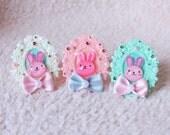 Cute Pink Bunny Cameo Rings