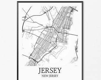 Jersey City Map Art Print, Jersey City Poster Map of Jersey City Decor, Jersey City City Map Art, Jersey City Gift, Jersey City Art Poster