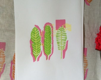 Green and pink leaves screen print