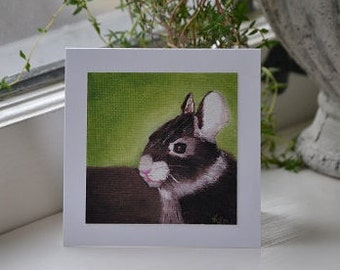 Card print of Baby Bunny oil painting , pretty yellow envelope with flower