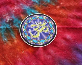 Purple / Blue Round Om Namaste Sticker