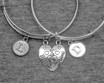 Silver Best Friend Bracelet -Friendship Bangle -BFF Bracelet -Initial Bracelet -Your Choice of A to Z