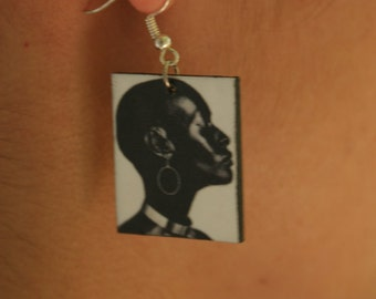 Earrings with Pretty Black Woman Picture