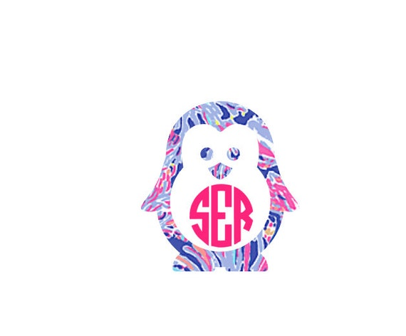 Free Shipping-Shrimply Chic Lilly Pulitzer Inspired Decal, Penguin Circle Monogram, RTIC Corkcicle Personalized, Yeti, Laptop,Christmas Yeti