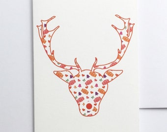 Christmas card - Patterned - Reindeer