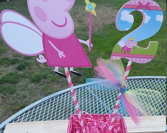 Peppa pig centerpiece cut out or Number cut out, Peppa pig birthday party,  birthday number