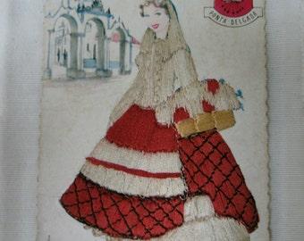 Vintage hand embroidery postcard.1940s postcard.VintagePortugal postcard.Collectible.Rare.Ephemera.Silk.Vintage handmade postcard.Embroidery
