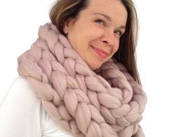 Chunky infinity scarf, 70+ colours, crochet knit scarf, Super bulky chunky, Knitted scarf, extreme knitting Merino, chunky yarn, M014