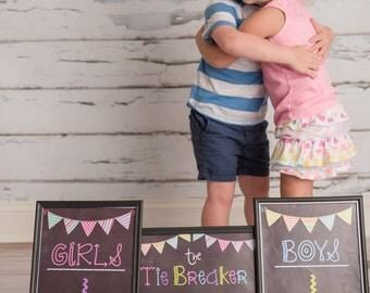 Tie Breaker Pregnancy Photo Props - Printable Chalkboard Signs - Digital Download - Baby Announcement / Set of 3 printable signs JPEG Files