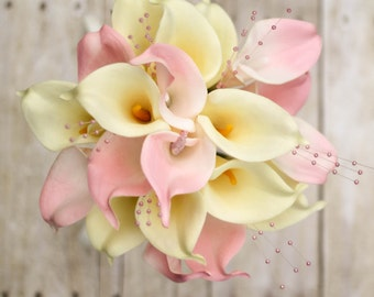 Pink and cream bridal bouquet ~ Pink cream calla lily ~ Pink and gold wedding flowers ~ Pink pearl bouquet ~ Pink bridesmaids bouquet