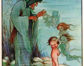 "Rare Original 1920s MABEL LUCIE ATTWELL Vintage Art Print ""Tom And Mrs Bedonebyasyoudid"""