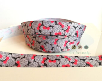 "7/8"" Pink-Hot Pink-Black-Minnie Mouse-Bow-Grosgrain Ribbon by the yard-Hairbow-Valentine's Day-Gift Wrap-birthday-party-girl-trim"