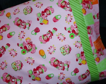 Strawberry Shortcake Pillowcase/Sham, Strawberry Shortcake Bedding, Pink, Green, Strawberry Shortcake Gift Bag, Custard, Shopping, Jewelry