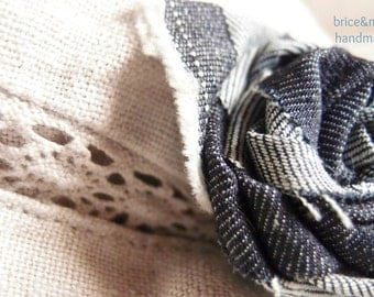 Jeans fabric flower brooch, brooch shaped like a rose, decorative brooch, handmade brooch, fabric brooch