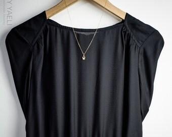 Hamsa necklace, heart hamsa, evil eye necklace, hamsa hand, luck charm, gift under 50, hand of fatima, dainty necklace, tiny necklace.