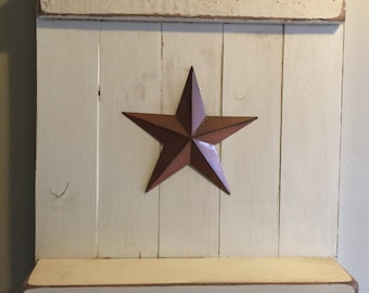 Primitive Wall Shelf with Coat and Key Hooks Distressed