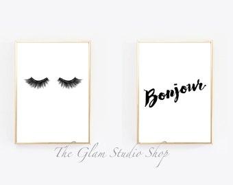 Eyelashes Illustration + Bonjour printable art Instant download printable art print art bedroom decor lashes lashes sleep good morning print