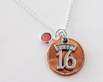 Sweet 16 NECKLACE.  Sixteen. Birthstone. Personalized Necklace. Sixteenth Birthday. Lucky Penny.  Sixteen years old. Shiny new 2002 penny