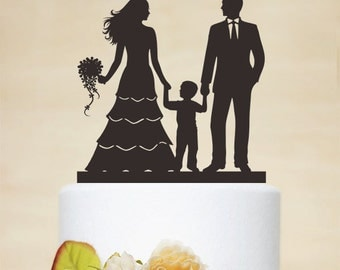 Wedding Cake TopperBride And Groom With A Little Boy Custom Topper