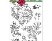 Love Birds Stamp, Rose Stamp, Valentine's Stamp Set, Wedding Stamp Set, Anniversary Stamp Set, clear Penny Black Stamp Set, All Abloom,