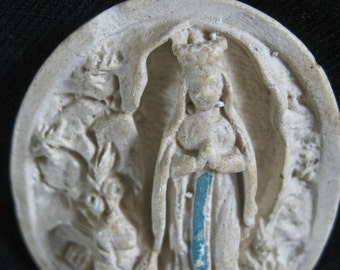 Apparition of the Virgin Mary, Holy Mother Relief, Religious Plaster Image, Catholic Religious Chalkware