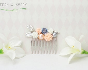 Peach pink, white and blue, silver hair comb. Silver and peach flower hair clip. Wedding bridal hair.