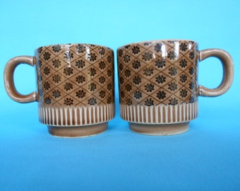Retro Stacking Mugs Coffee Cups Chocolate Brown and Tan Set of 2 Made in Japan  #10179