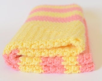 Baby Blanket Crochet - Pink Baby Blanket - Yellow Crochet Blanket - Gift for Baby - Hand Crocheted Item -  Baby Shower Gift - Soft Blanket