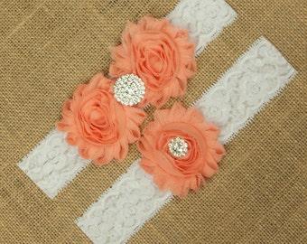 Peach Wedding Garter, Peach Garter, Peach Garter Belt, Lace Garter, Lace Garter Set, Wedding Garter Set, White Lace Garter Belt, SCWS-R01