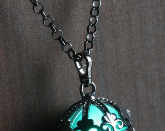 Teal Ornate Glowing Orb Pendant Necklace Locket Black, Romantic Gift for Her,  glow Jewelry