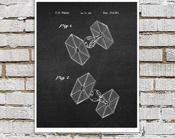 Star Wars print #4 Tie Fighter Patent Poster, Star Wars Decor, Star Wars Boys bedroom Decor,  Movie Wall Art, Star Wars Ship, Star Wars Gift