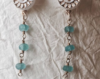 Sunflower Button and Aquamarine Earrings