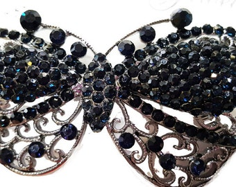 New Sapphire Blue and Rhinestone  Antique Silver Butterfly  Metal 3 '' Hair Barrette With Lever Back
