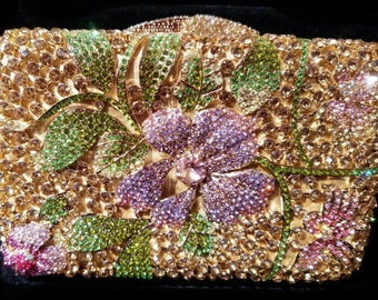 New Gold Minaudiere Multi Color Floral Motif Austrian Crystal -Hard Shell Clutch Evening Handbag With Gold Removable Shoulder Chain Inside