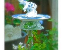 """GARDEN TOTEM BIRDFEEDER, """"Asian Elephant"""" Garden Stake Bird Feeder, Garden Sculpture, Blue Willow, Re-purposed Glass & Ceramic Ware"""