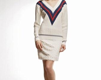 Wimbledon Cashmere and Cotton Blend Jumper / Cricket jumper / Cream sweater