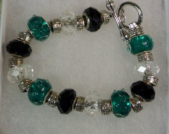 Green and Black Charm Bracelet
