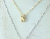 Tiny Pineapple Necklace, Sterling Silver, Vermeil (#8903)