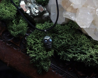 Pyrite Skull Necklace with Labradorite Beads