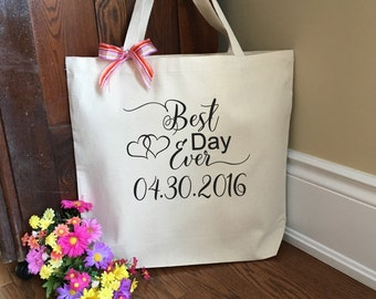 Best Day Ever; Best Day Ever Tote Bag; Bridal Party Tote Bag; Bridesmaid Canvas Tote; Wedding Tote Bag; Destination Wedding Tote Bag; Bag